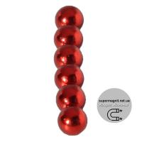 Магнит шар D 5мм (комплект 6шт) красный